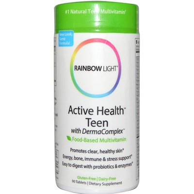 Rainbow Light  Active Health Teen with Derma Complex  Food-Based Multivitamin  90 Tablets