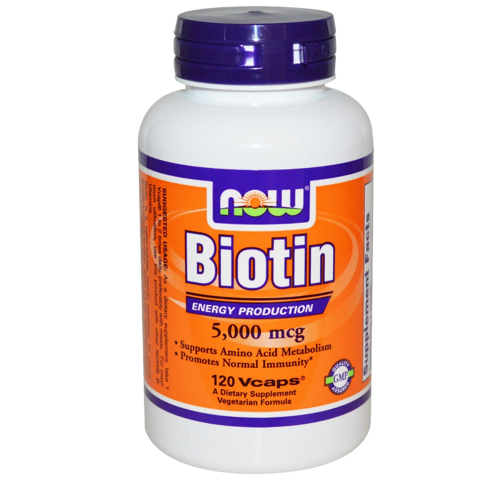 Now Foods Biotin 5 000 mcg 120 Vcaps
