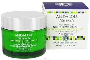 Andalou Naturals Night Repair Cream Resveratrol Q10 Age-Defying 1.7 fl oz (50 ml)