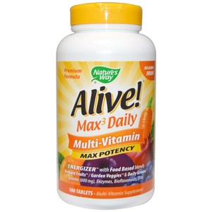 Nature's Way  Alive! Max Potency  Multi-Vitamin  No Added Iron  180 Tablets