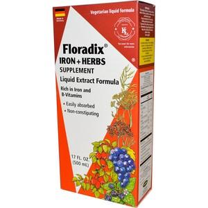 Flora, Floradix, Iron + Herbs Supplement, Liquid Extract Formula, 17 fl oz (500 ml)