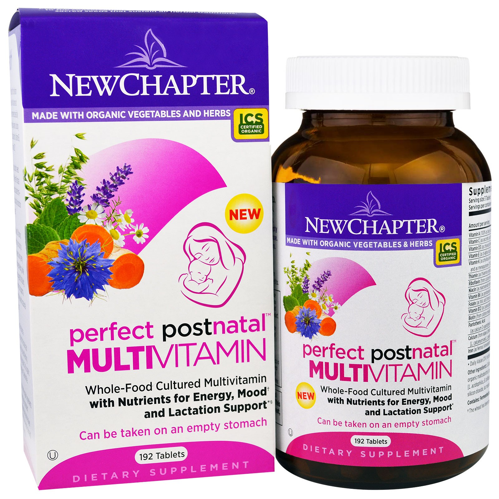 New Chapter Perfect Postnatal Vitamin, Lactation Supplement with Vitamin D3 + B Vitamins + Organic N