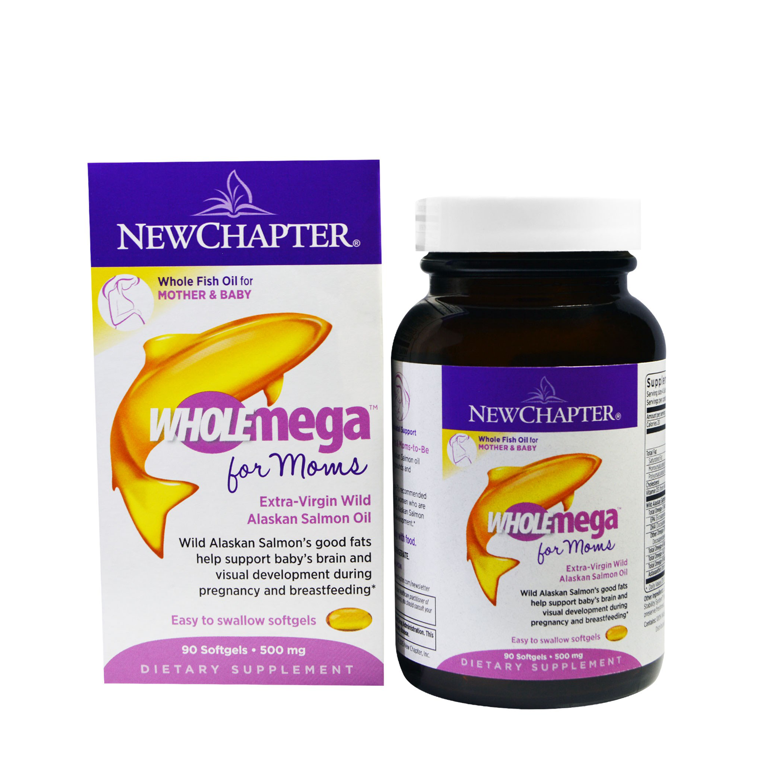 New Chapter, Wholemega For Moms, 500 mg, 90 Softgels